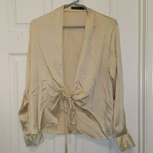 The Limited ivory silk tie blouse Sz M